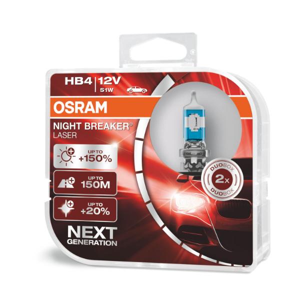 Osram HB4 9006NL Halogen Lampen Night Breaker Laser +150% NEXT Generation Duo Box (2 Stück)