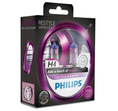 Philips H4 Color Vision Purple / Pink Halogen Lampen +60% mehr Licht 12V 60/55W Duo Box (2 Stück)