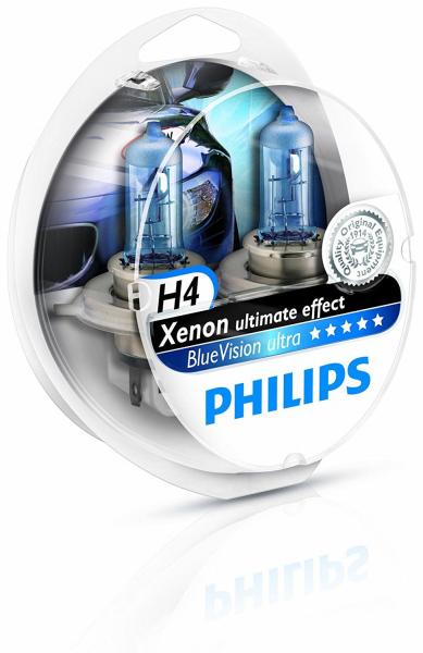 Philips H4 12342BVUSM Blue Vision Ultra Halogen Lampen 12V 60/55W Duo Box (2 Stück)