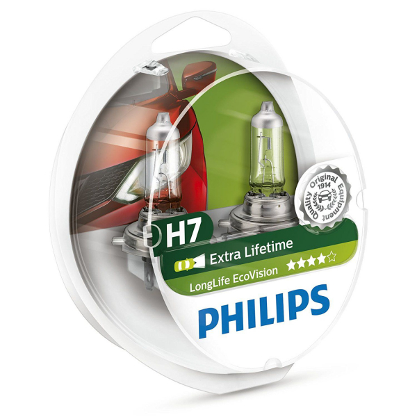 Philips H7 12972 Extra Lifetime Vision Halogen Lampen Duo-Box (2 Stück)