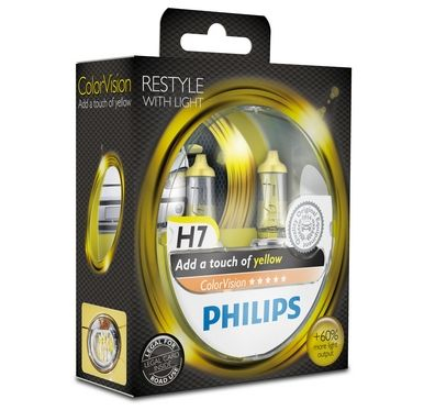 Philips H7 Color Vision Yellow / Gelb Halogen Lampen +60% mehr Licht 12V 55W Duo Box (2 Stück)