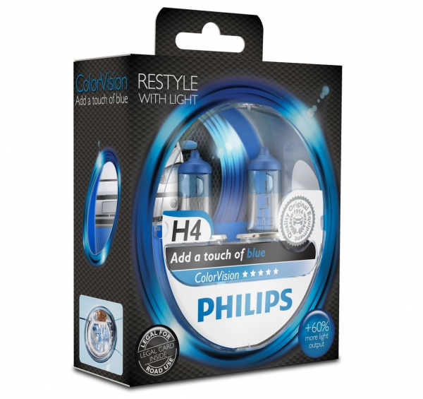 Philips H4 Color Vision Blue/ Blau Halogen Lampen +60% mehr Licht 12V 60/55W Duo Box (2 Stück)