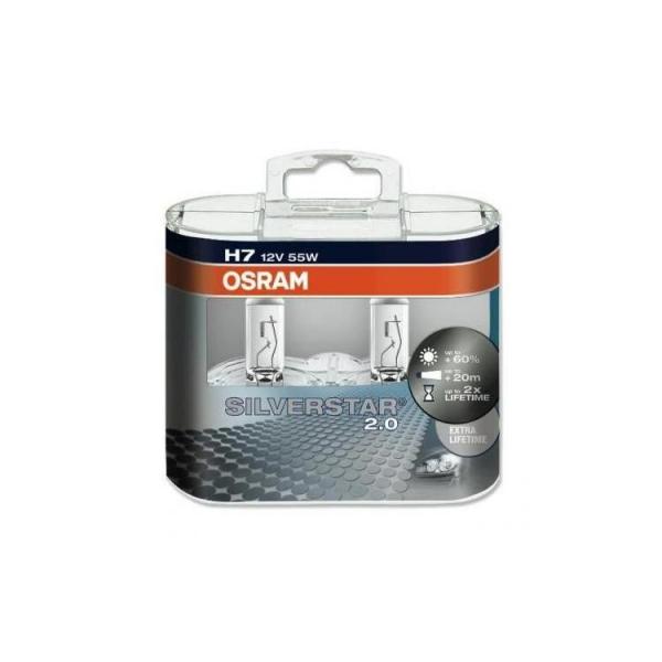 Osram H7 Silverstar 2.0 Halogen Scheinwerferlampen 12V 55W Duo Box (2 Stück)