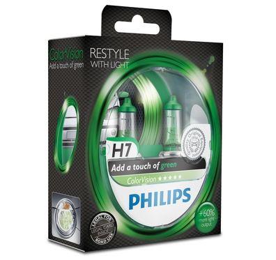 Philips H7 Color Vision Green/ Grün Halogen Lampen +60% mehr Licht 12V 55W Duo Box (2 Stück)