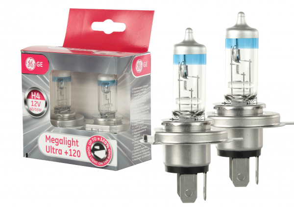 GE General Electric H4 Megalight Ultra +120% mehr Licht 12V 60/55W (2 Stück)