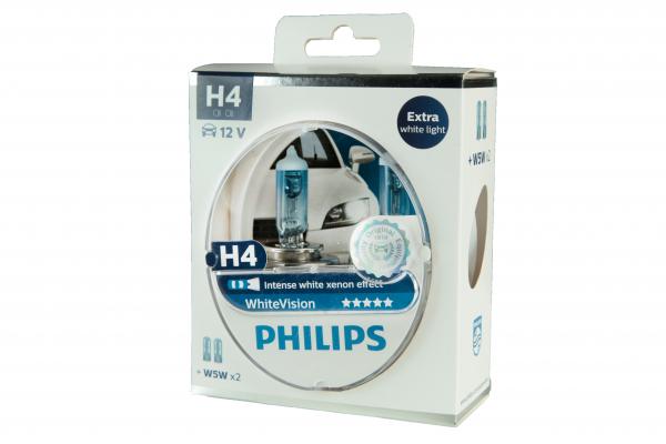 Philips H4 12342WHVSM WhiteVision Halogen Lampen mit 2x W5W Duo-Box (2 Stück)