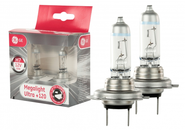 GE General Electric H7 Megalight Ultra +120% mehr Licht 12V 55W (2 Stück)