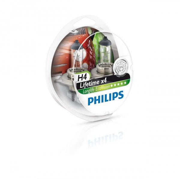 Philips H4 12342 Lifetime x4 Longlife Eco Vision Halogen Lampen Duo-Box (2 Stück)