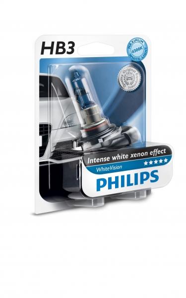 Philips HB3 9005 WHVB1 White Vision Scheiwerferlampe Intense white xenon effect