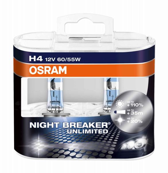 Osram H4 64193 NBU Night Breaker Unlimited Halogen Lampen Duo-Box (2 Stück)